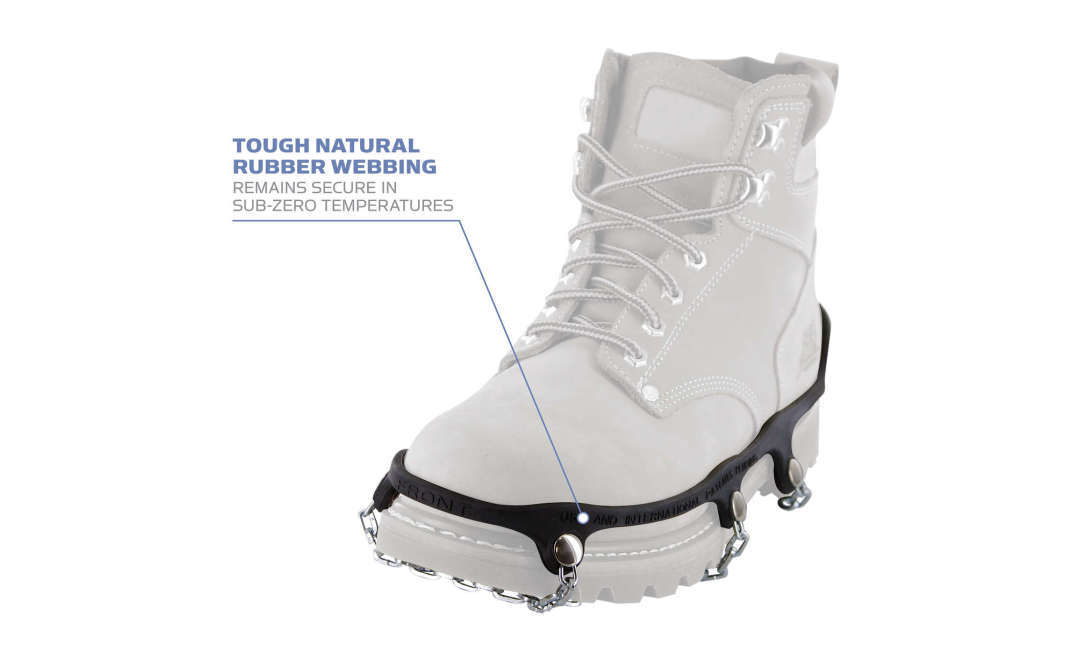 The Yaktrax Chains natural rubber webbing remains secure in sub-zero temperatures.