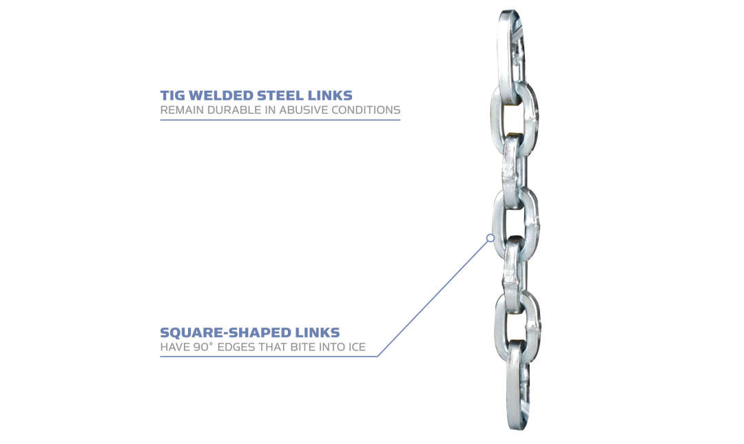 The Yaktrax Chains tig welded steel links remains durable in abusive conditions and the square-shaped links are great for biting into the ice.