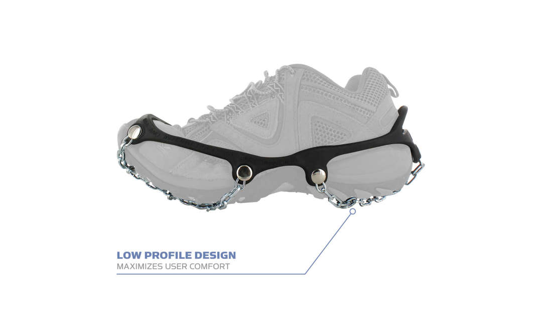 The Yaktrax Chains low profile design maximizes user comfort.