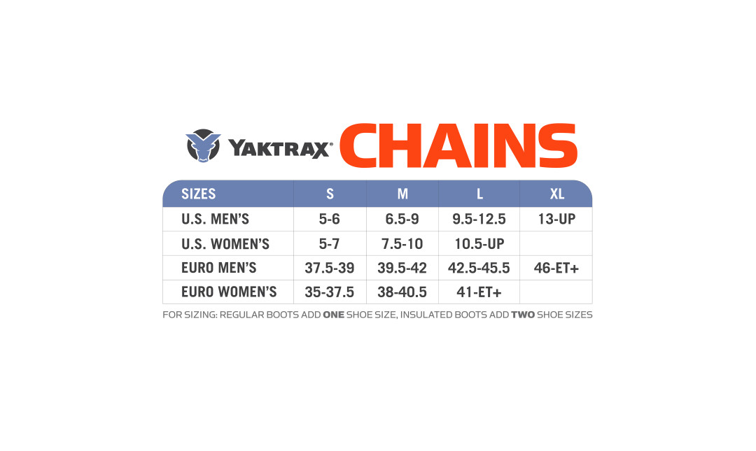 Yaktrax Chains Sizing Chart.