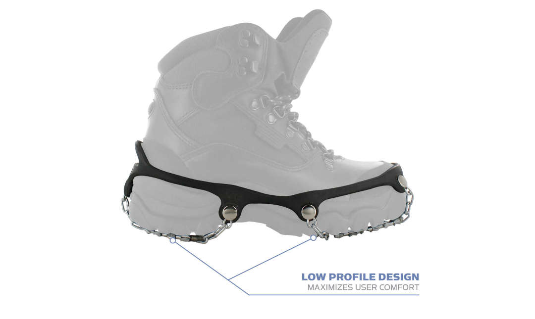 Yaktrax Diamond Grip has a low profile design to maximize user comfort.