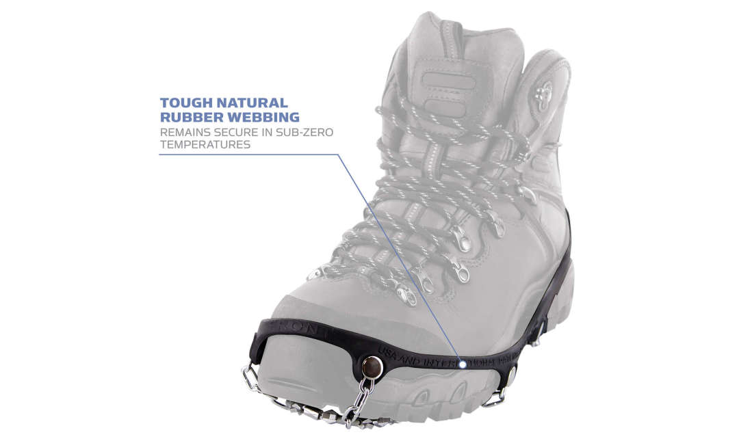 Yaktrax Diamond Grip has tough natural rubber webbing remains secure in sub-zero temperatures.