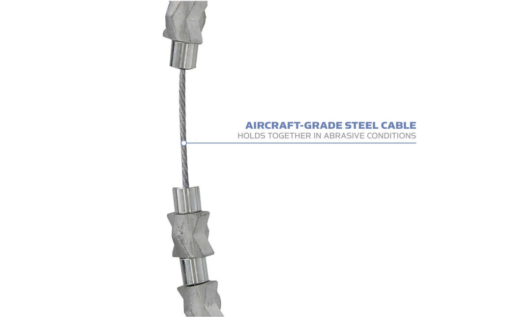 Yaktrax Diamond Grip has aircraft-grade steel cable that holds together in abrasive conditions.