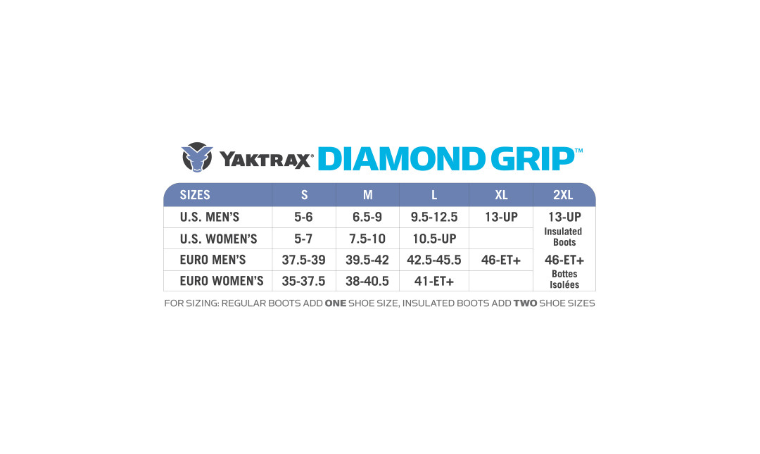 Yaktrax Diamond Grip Sizing Chart.