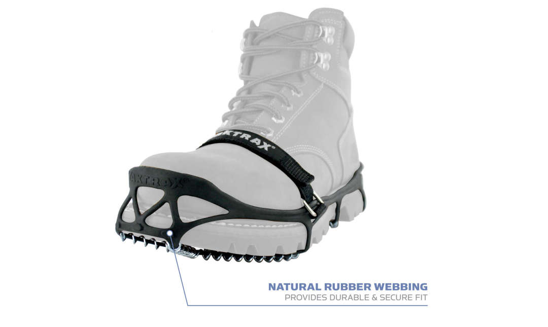The Yaktrax Pro has natural rubber webbing that provides a durable & secure fit.