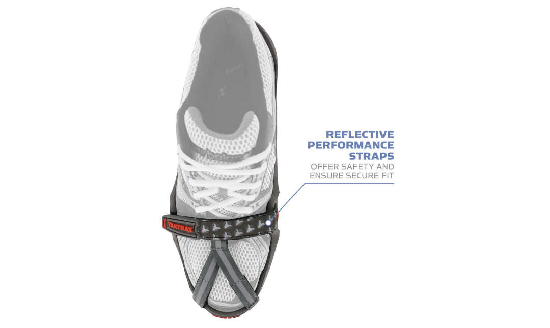The Yaktrax Run has reflective performance straps to offer safety and ensure a secure fit.