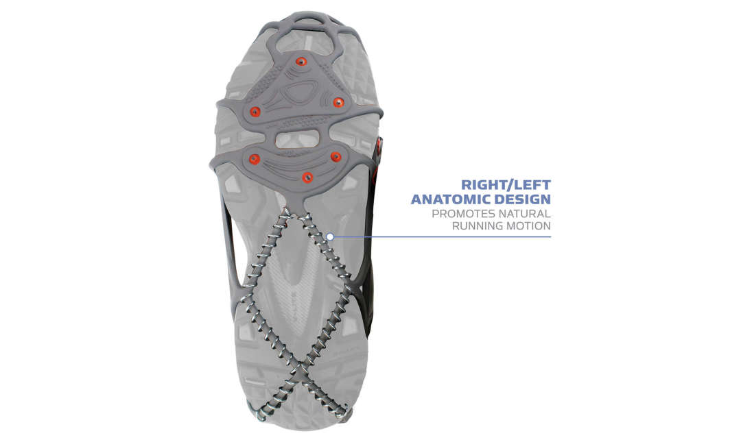 The Yaktrax Run has right/left anatomic design to promote natural running motion.
