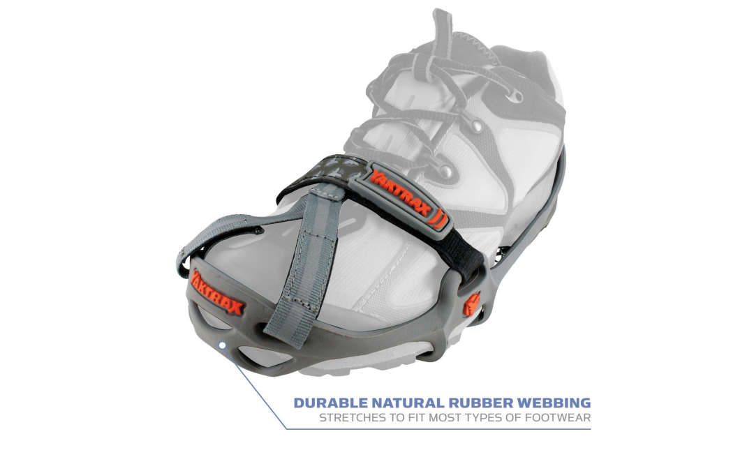 The Yaktrax Run has a durable natural rubber webbing that stretches to fit most types of footwear.