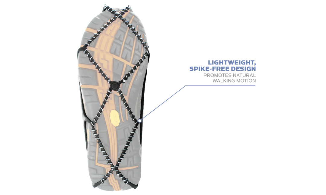 Yaktrax Walk has a lightweight, spike-free design that promotes natural walking motion.