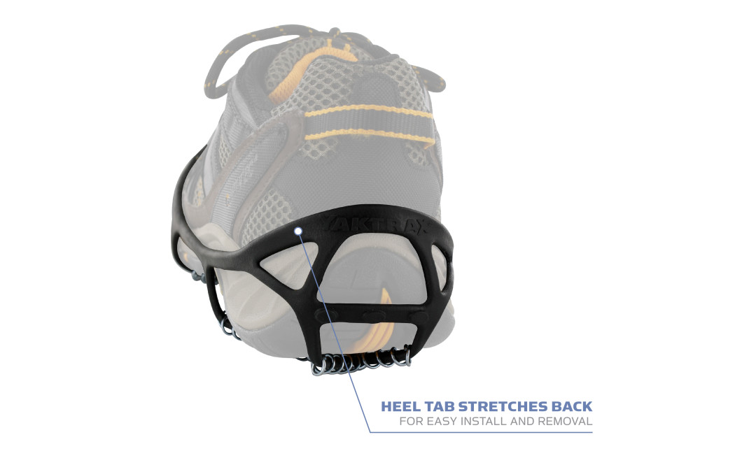 Yaktrax Walk has a stretchy heel tab for easy install and removal.