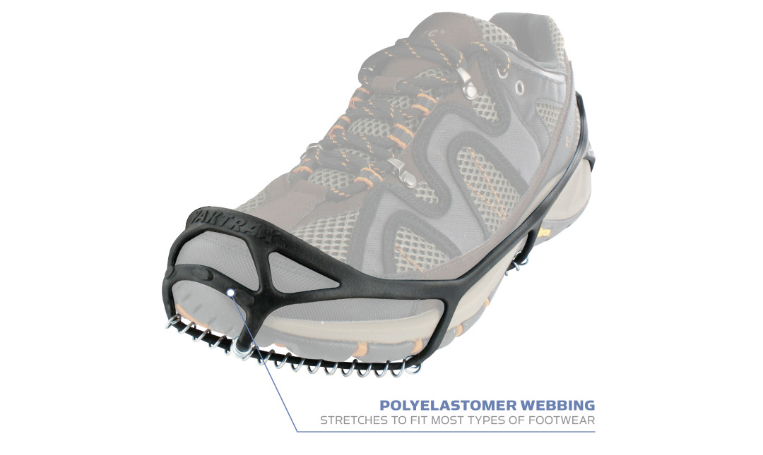 Yaktrax Walk with Polyelastomer webbing  stretches to fit most types of footwear.