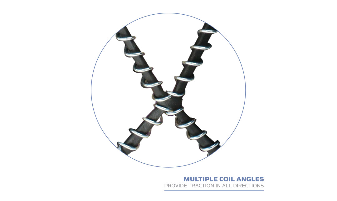 Yaktrax Walk has multiple coil angles provide traction in all directions.